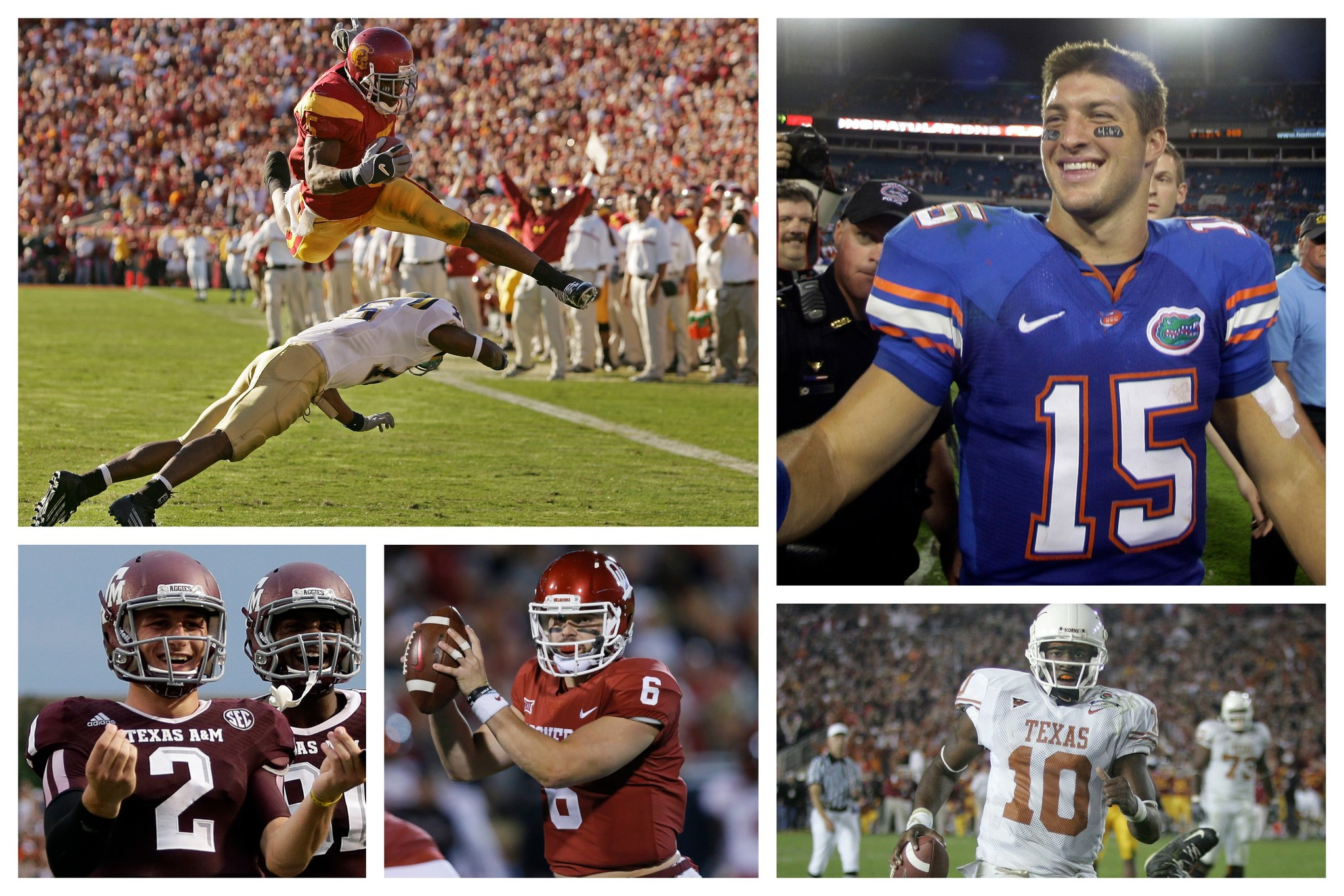 Reggie Bush, Tim Tebow, Johnny Manziel, Baker Mayfield y Vince Young.
