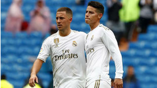 Hazard y James, durante un partido con el Real Madrid