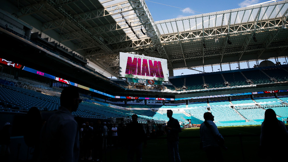 Interior del Hard Rock Stadium en Miami, sede del Super Bowl LIV.