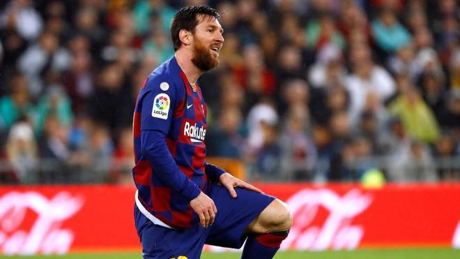 Messi, during a match at the Bernab