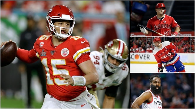 Patrick Mahomes superó a Mike Trout y James Harden.