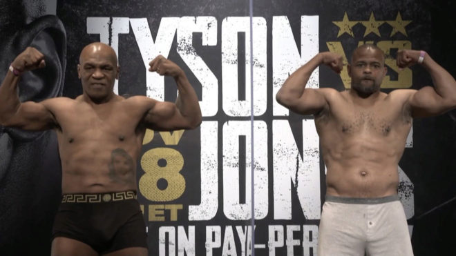 Tyson vs Jones Jr: Amistosa ceremonia de pesaje entre Mike Tyson y Roy Jones  para su regreso al ring | MARCA Claro Usa