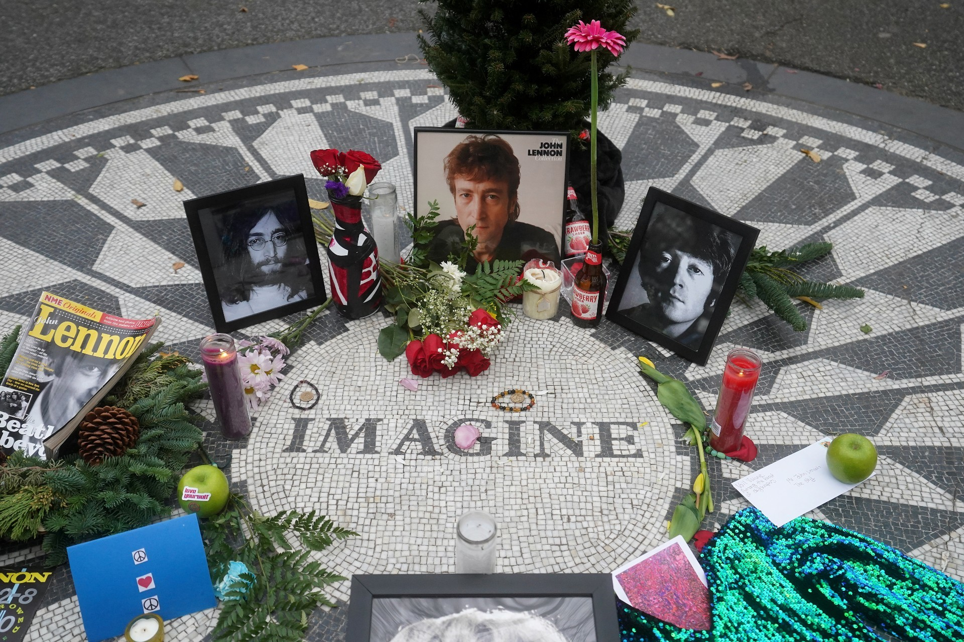 The memorial at Strawberry Fields in Central Park in New York.